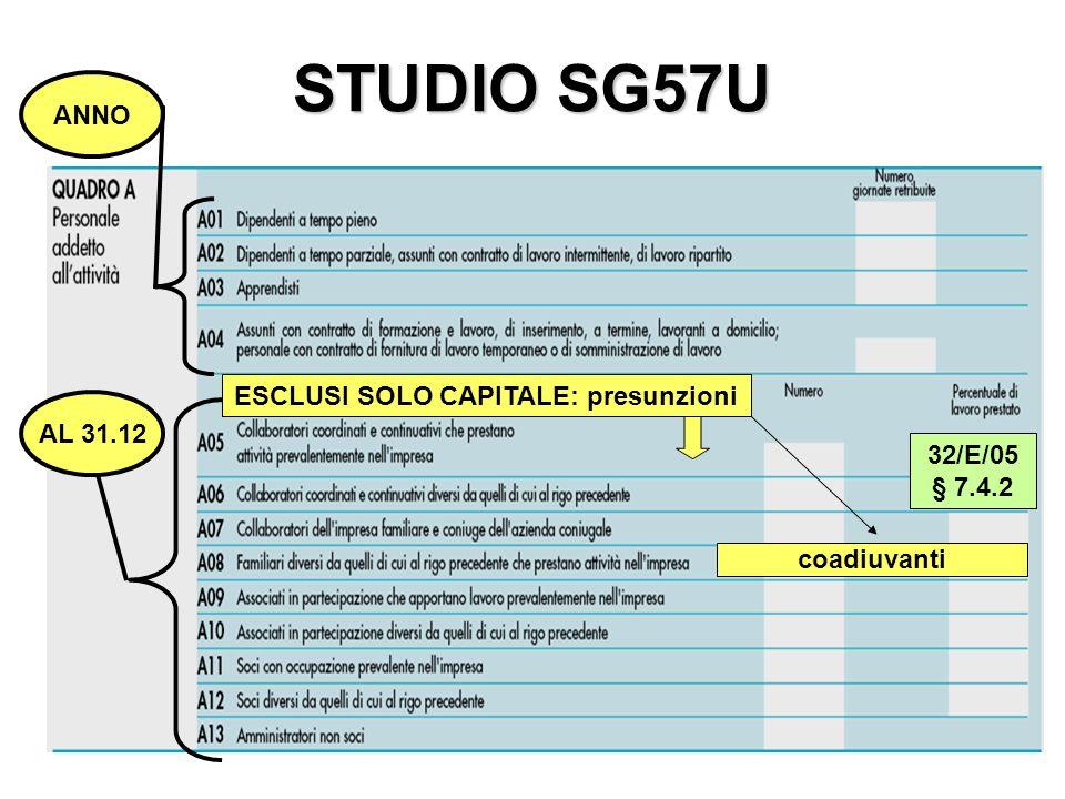 STUDIO SG57U ANNO AL 31.12 ESCLUSI SOLO CAPITALE: presunzioni coadiuvanti 32/E/05 § 7.4.2