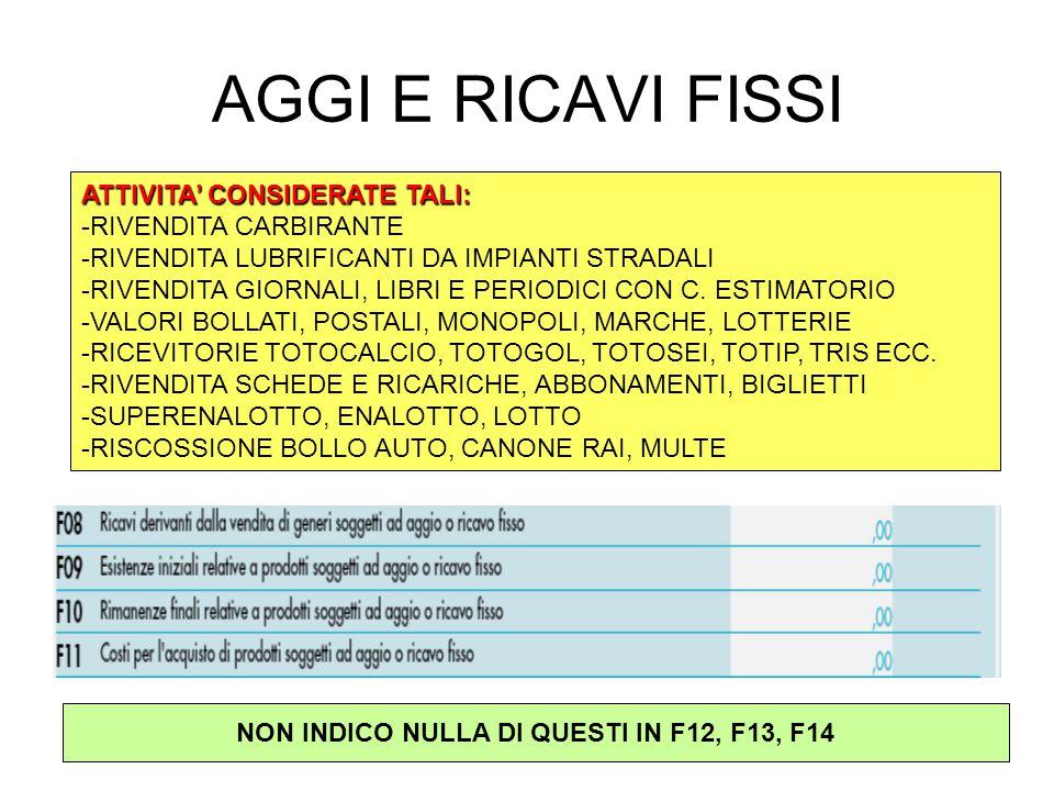 AGGI E RICAVI FISSI ATTIVITA' CONSIDERATE TALI: -RIVENDITA CARBIRANTE -RIVENDITA LUBRIFICANTI DA IMPIANTI STRADALI -RIVENDITA GIORNALI, LIBRI E PERIODICI CON C.