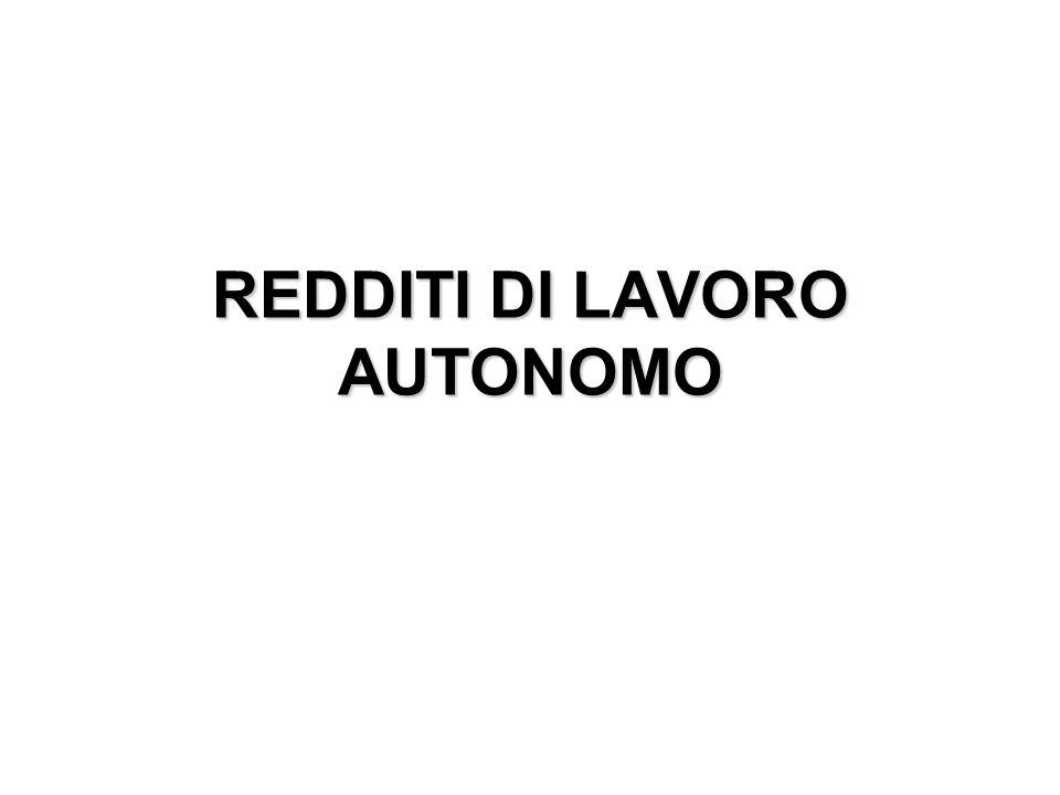 REDDITI DI LAVORO AUTONOMO