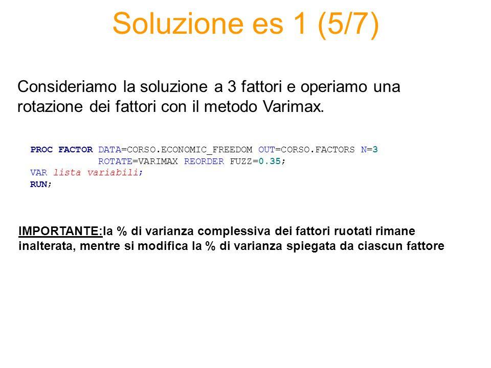 Soluzione es 1 (5/7) PROC FACTOR DATA=CORSO.ECONOMIC_FREEDOM OUT=CORSO.FACTORS N=3 ROTATE=VARIMAX REORDER FUZZ=0.35; VAR lista variabili; RUN; Consideriamo la soluzione a 3 fattori e operiamo una rotazione dei fattori con il metodo Varimax.