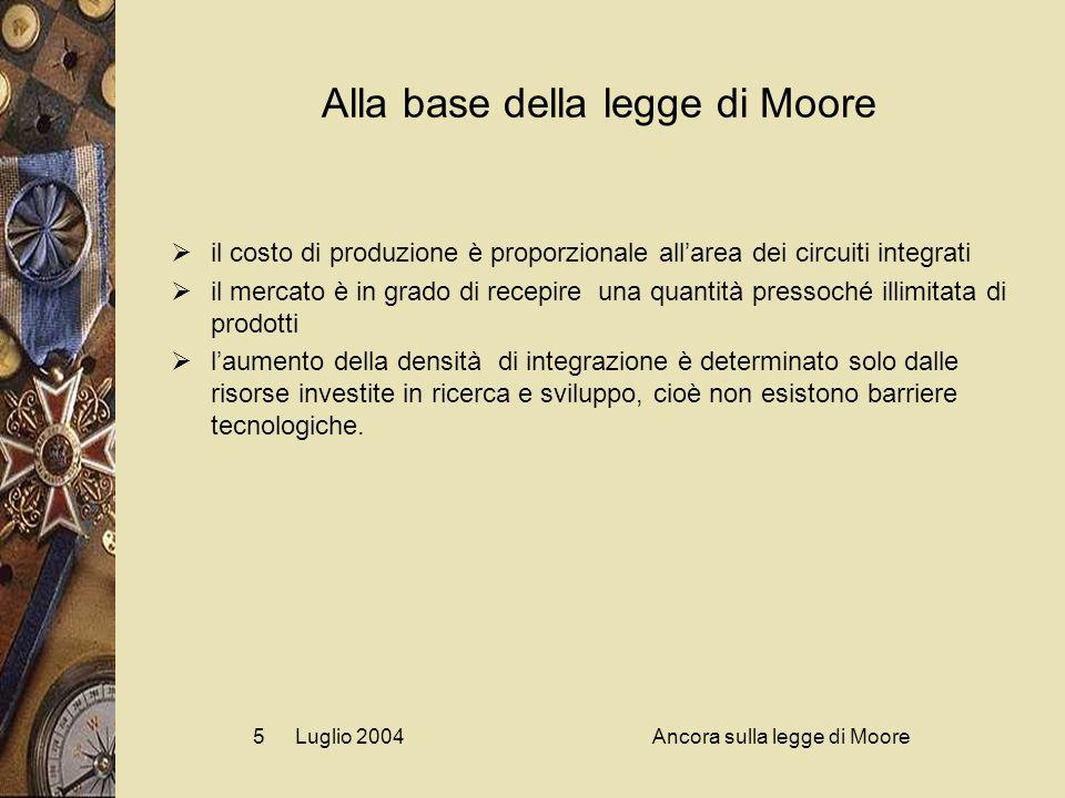 Luglio 2004Ancora sulla legge di Moore5 Alla base della legge di Moore  il costo di produzione è proporzionale all'area dei circuiti integrati  il mercato è in grado di recepire una quantità pressoché illimitata di prodotti  l'aumento della densità di integrazione è determinato solo dalle risorse investite in ricerca e sviluppo, cioè non esistono barriere tecnologiche.