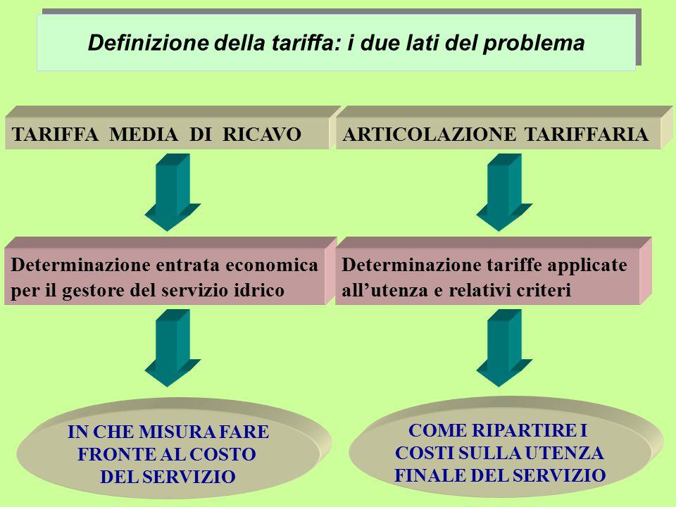 Definizione della tariffa: i due lati del problema TARIFFA MEDIA DI RICAVOARTICOLAZIONE TARIFFARIADeterminazione entrata economica per il gestore del servizio idrico Determinazione tariffe applicate all'utenza e relativi criteri IN CHE MISURA FARE FRONTE AL COSTO DEL SERVIZIO COME RIPARTIRE I COSTI SULLA UTENZA FINALE DEL SERVIZIO