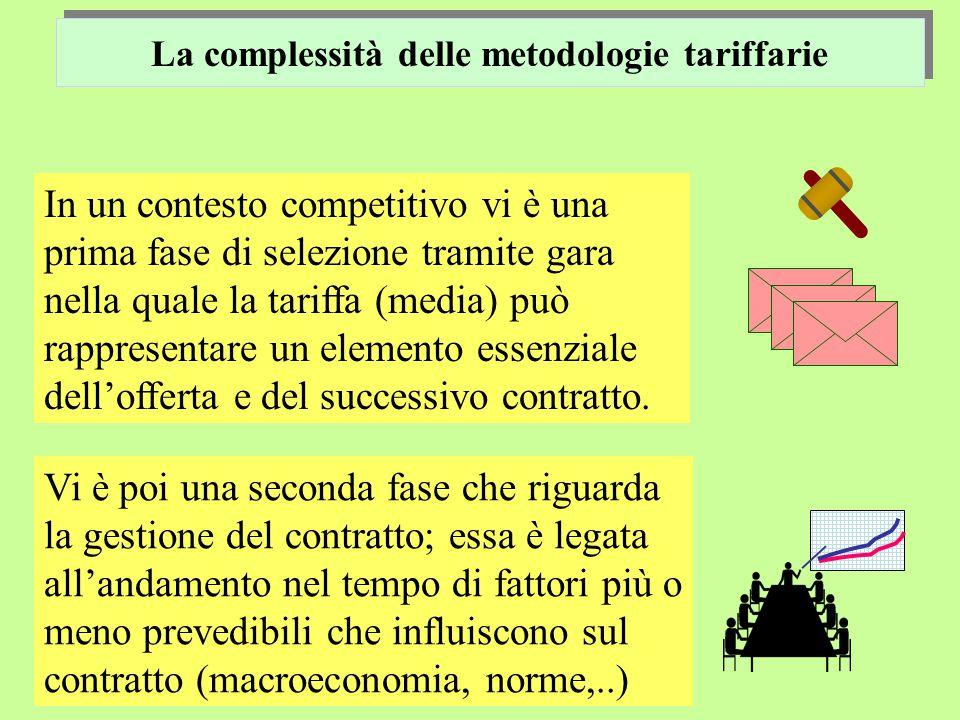 La complessità delle metodologie tariffarie In un contesto competitivo vi è una prima fase di selezione tramite gara nella quale la tariffa (media) può rappresentare un elemento essenziale dell'offerta e del successivo contratto.