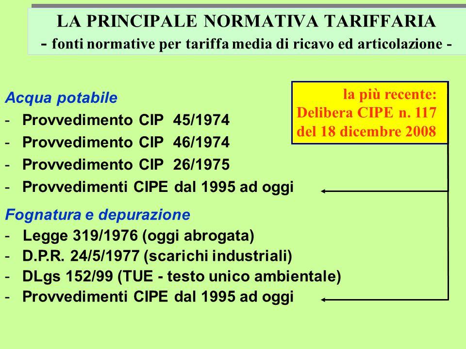 LA PRINCIPALE NORMATIVA TARIFFARIA - fonti normative per tariffa media di ricavo ed articolazione - Acqua potabile -Provvedimento CIP 45/1974 -Provvedimento CIP 46/1974 -Provvedimento CIP 26/1975 -Provvedimenti CIPE dal 1995 ad oggi Fognatura e depurazione - Legge 319/1976 (oggi abrogata) -D.P.R.