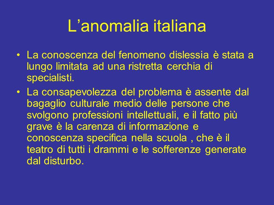 L'anomalia italiana La conoscenza del fenomeno dislessia è stata a lungo limitata ad una ristretta cerchia di specialisti. La consapevolezza del probl