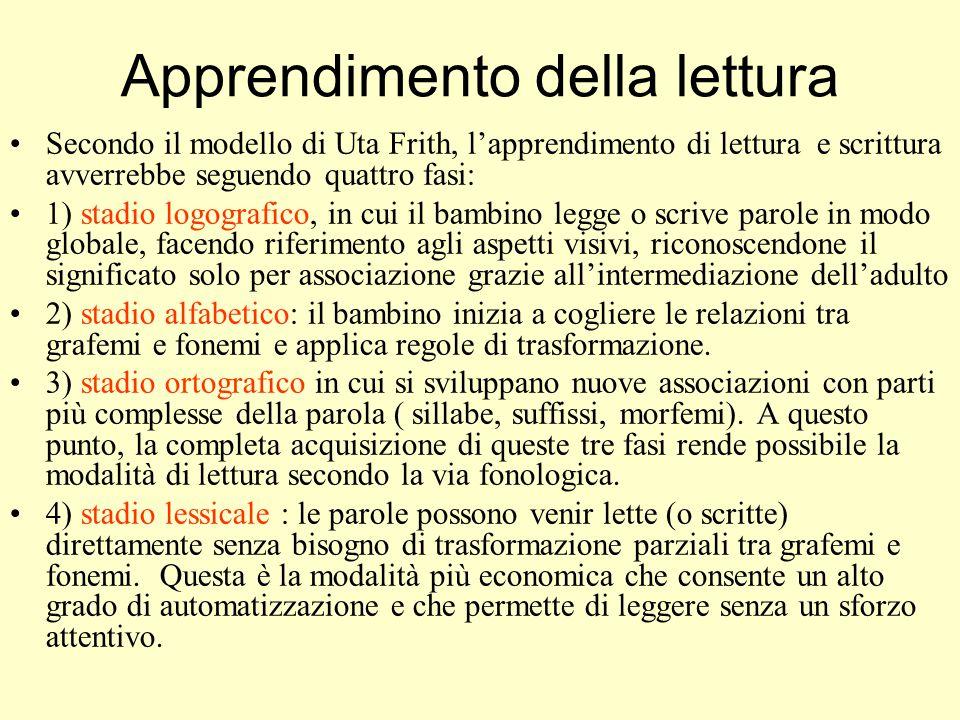 Apprendimento della lettura Secondo il modello di Uta Frith, l'apprendimento di lettura e scrittura avverrebbe seguendo quattro fasi: 1) stadio logogr
