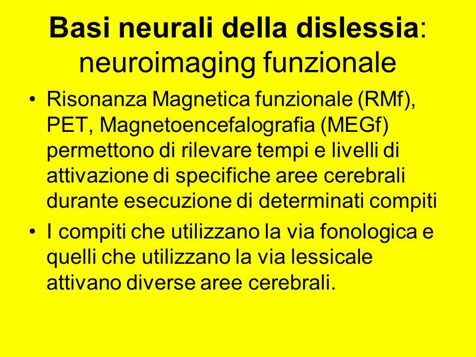 Basi neurali della dislessia: neuroimaging funzionale Risonanza Magnetica funzionale (RMf), PET, Magnetoencefalografia (MEGf) permettono di rilevare t