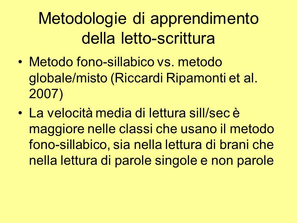 Metodologie di apprendimento della letto-scrittura Metodo fono-sillabico vs. metodo globale/misto (Riccardi Ripamonti et al. 2007) La velocità media d
