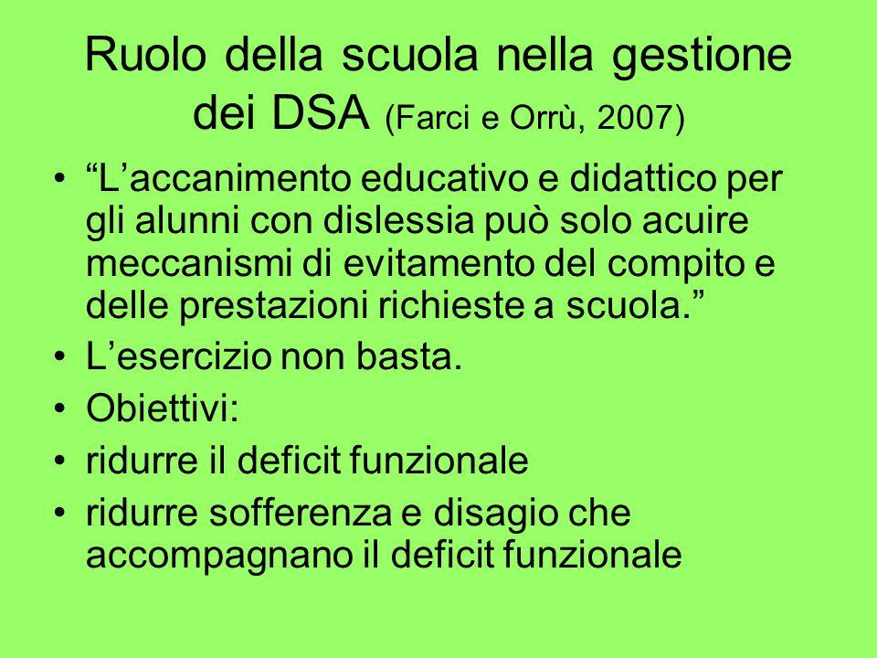 """Ruolo della scuola nella gestione dei DSA (Farci e Orrù, 2007) """"L'accanimento educativo e didattico per gli alunni con dislessia può solo acuire mecca"""