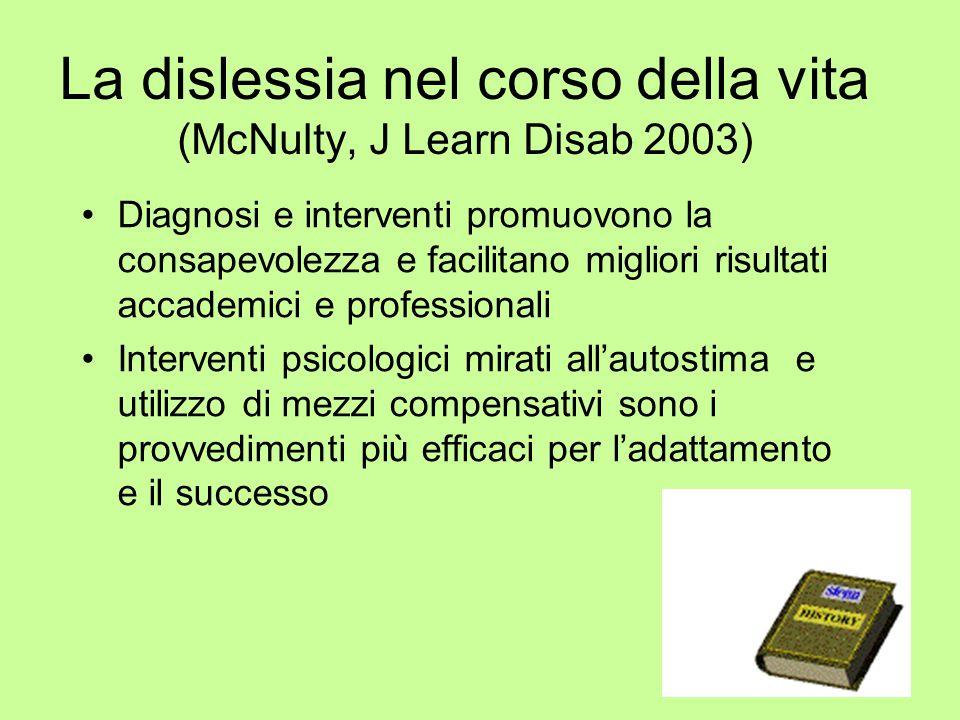 La dislessia nel corso della vita (McNulty, J Learn Disab 2003) Diagnosi e interventi promuovono la consapevolezza e facilitano migliori risultati acc