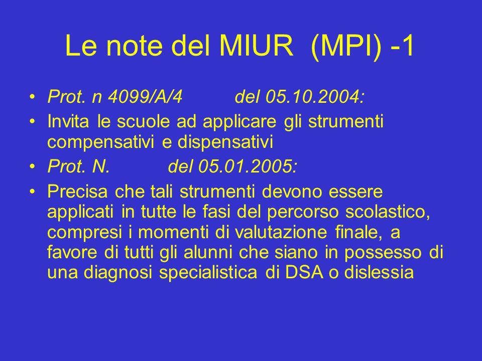 Le note del MIUR (MPI) -1 Prot. n 4099/A/4 del 05.10.2004: Invita le scuole ad applicare gli strumenti compensativi e dispensativi Prot. N. del 05.01.
