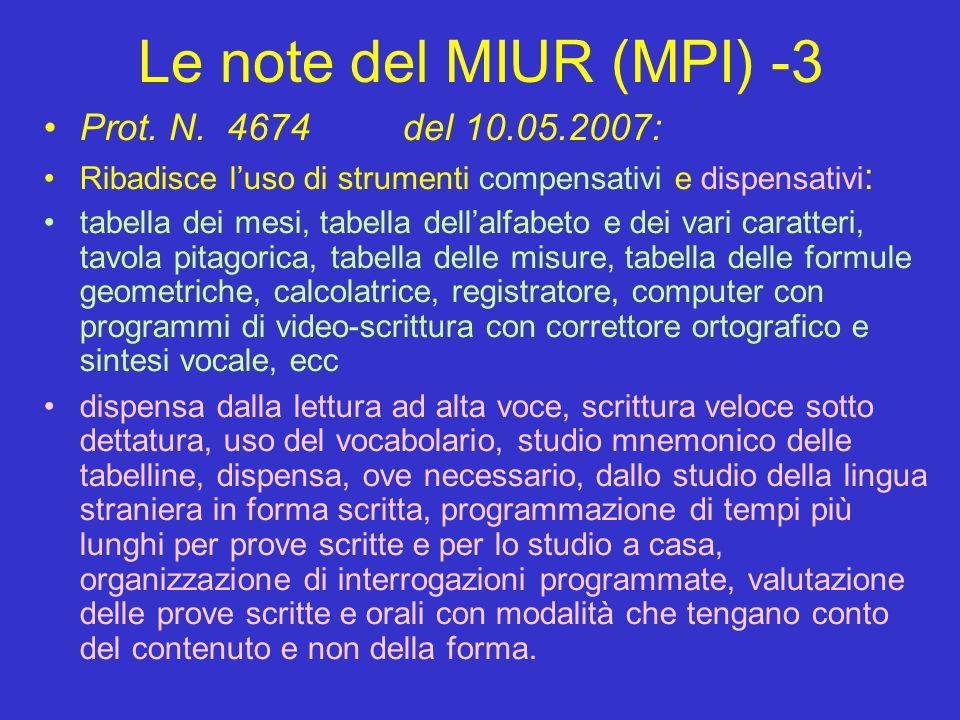 Le note del MIUR (MPI) -3 Prot. N. 4674 del 10.05.2007: Ribadisce l'uso di strumenti compensativi e dispensativi : tabella dei mesi, tabella dell'alfa