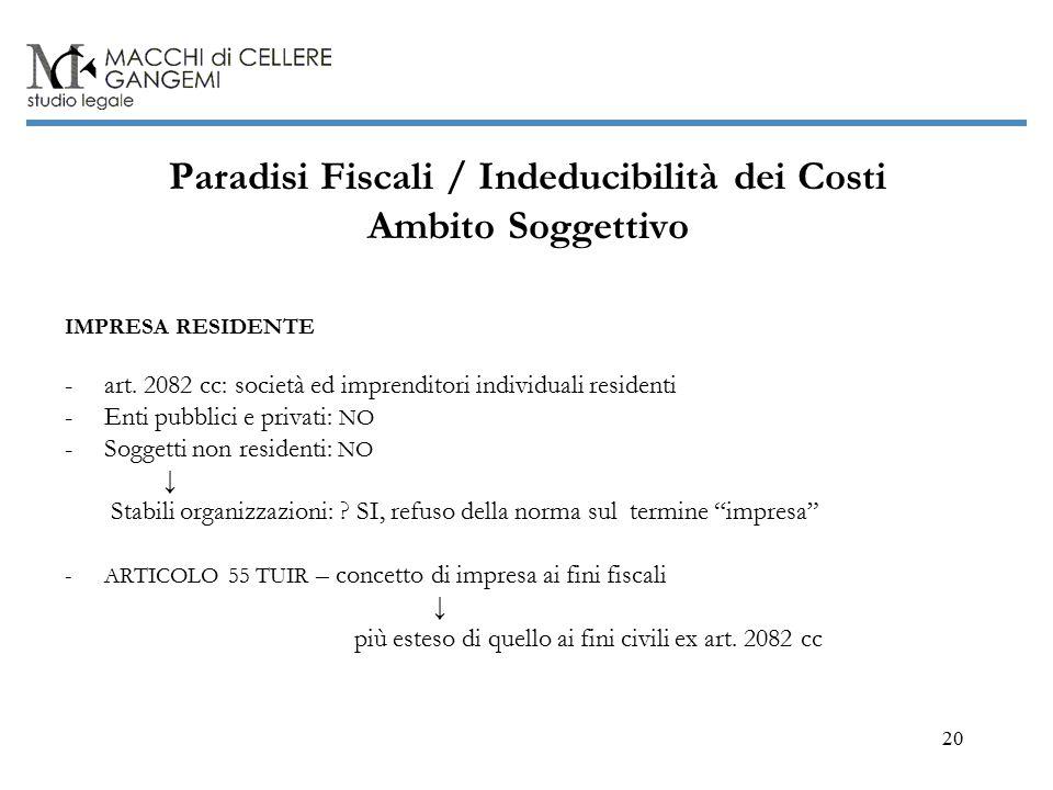 20 Paradisi Fiscali / Indeducibilità dei Costi Ambito Soggettivo IMPRESA RESIDENTE -art.