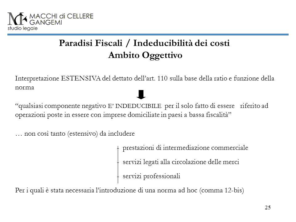 25 Paradisi Fiscali / Indeducibilità dei costi Ambito Oggettivo Interpretazione ESTENSIVA del dettato dell'art.