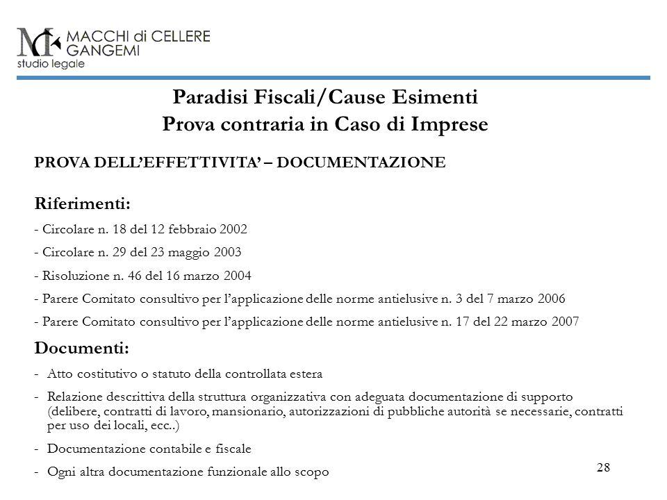 28 Paradisi Fiscali/Cause Esimenti Prova contraria in Caso di Imprese PROVA DELL'EFFETTIVITA' – DOCUMENTAZIONE Riferimenti: - Circolare n.