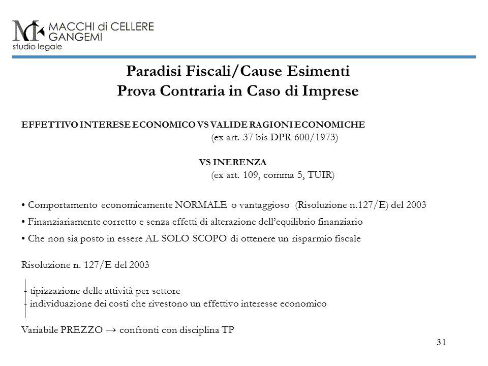 31 Paradisi Fiscali/Cause Esimenti Prova Contraria in Caso di Imprese EFFETTIVO INTERESE ECONOMICO VS VALIDE RAGIONI ECONOMICHE (ex art.