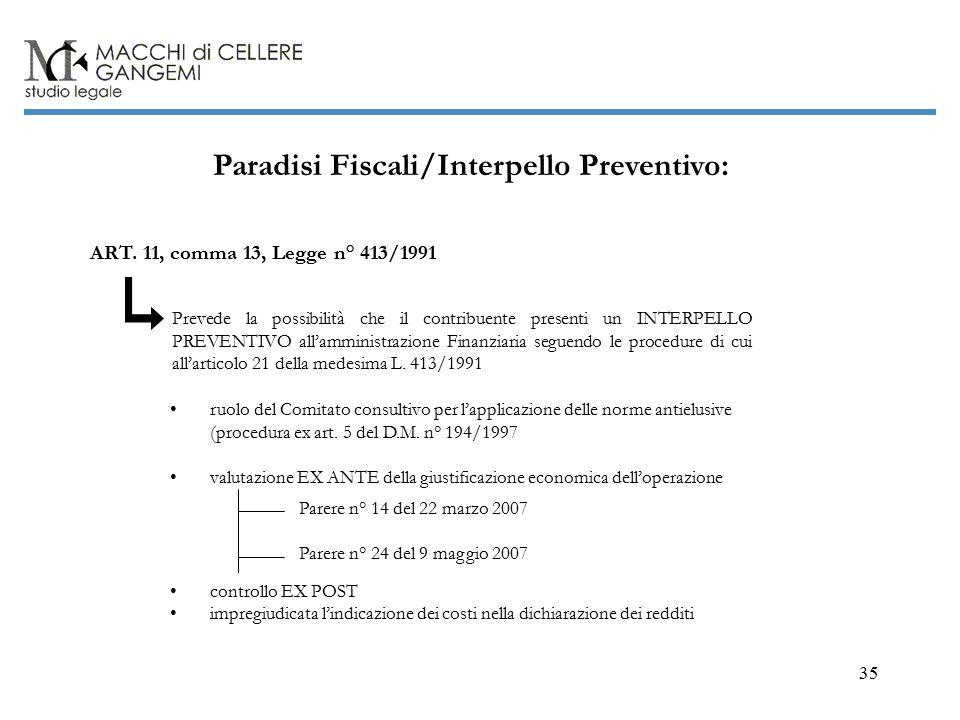 35 Paradisi Fiscali/Interpello Preventivo: ART.