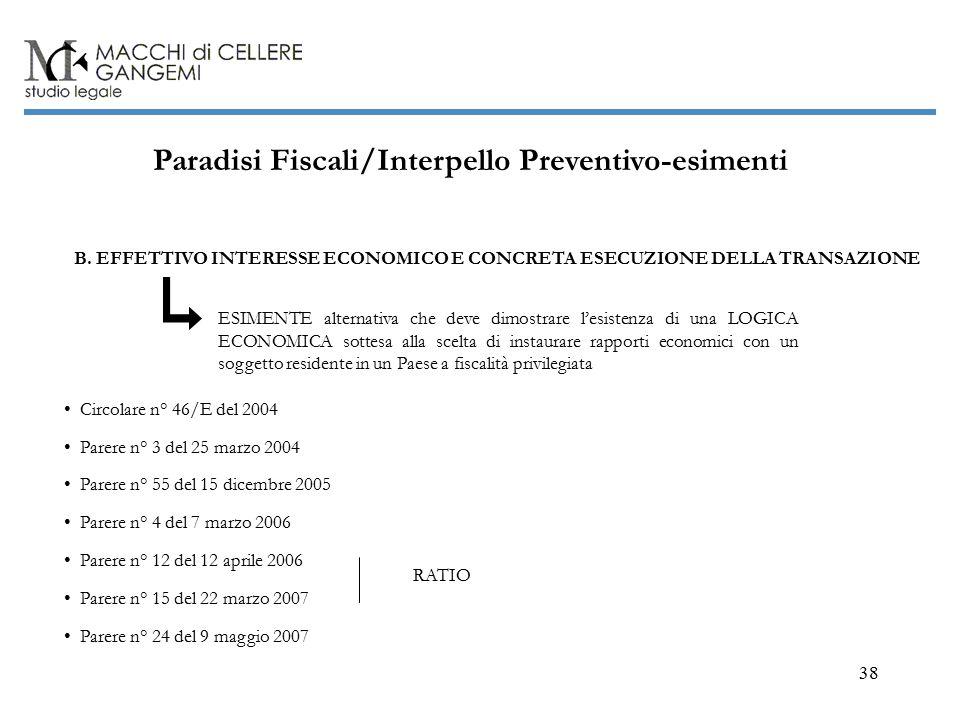 38 Paradisi Fiscali/Interpello Preventivo-esimenti B.