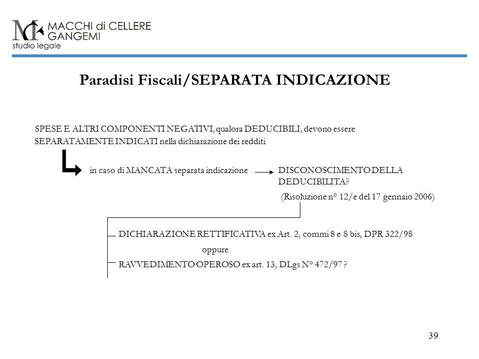 39 Paradisi Fiscali/SEPARATA INDICAZIONE SPESE E ALTRI COMPONENTI NEGATIVI, qualora DEDUCIBILI, devono essere SEPARATAMENTE INDICATI nella dichiarazione dei redditi in caso di MANCATA separata indicazione DICHIARAZIONE RETTIFICATIVA ex Art.