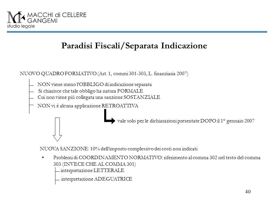 40 Paradisi Fiscali/Separata Indicazione NUOVO QUADRO FORMATIVO (Art.