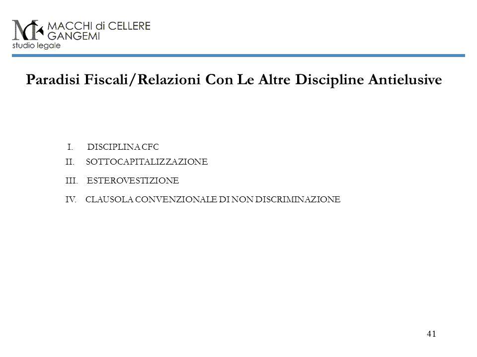 41 Paradisi Fiscali/Relazioni Con Le Altre Discipline Antielusive I.