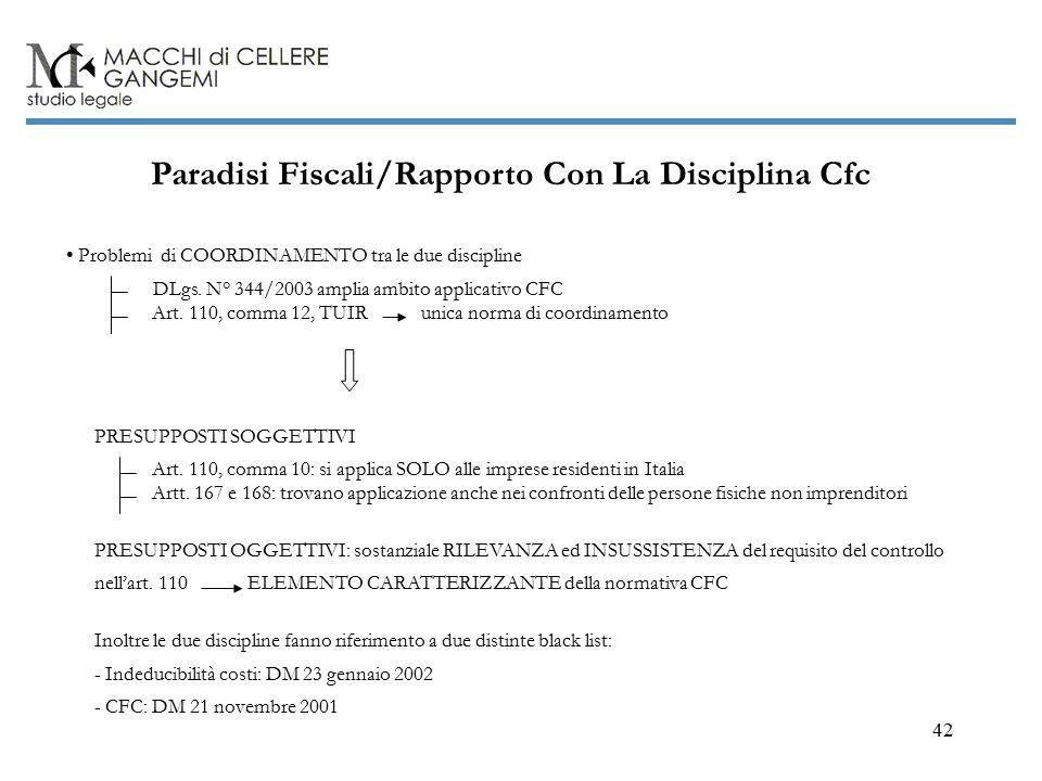 42 Paradisi Fiscali/Rapporto Con La Disciplina Cfc Problemi di COORDINAMENTO tra le due discipline Art.