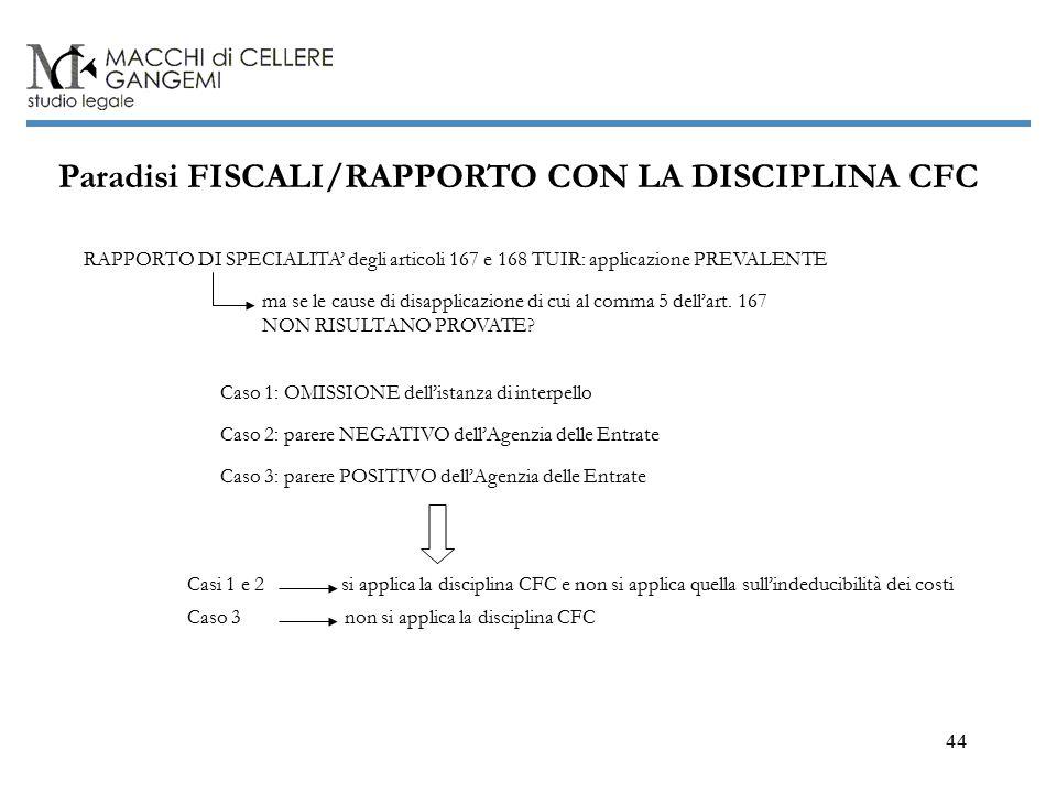 44 Paradisi FISCALI/RAPPORTO CON LA DISCIPLINA CFC RAPPORTO DI SPECIALITA' degli articoli 167 e 168 TUIR: applicazione PREVALENTE Caso 1: OMISSIONE dell'istanza di interpello Caso 3: parere POSITIVO dell'Agenzia delle Entrate Caso 2: parere NEGATIVO dell'Agenzia delle Entrate Casi 1 e 2 si applica la disciplina CFC e non si applica quella sull'indeducibilità dei costi ma se le cause di disapplicazione di cui al comma 5 dell'art.