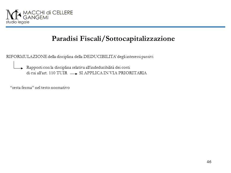 46 Paradisi Fiscali/Sottocapitalizzazione di cui all'art.