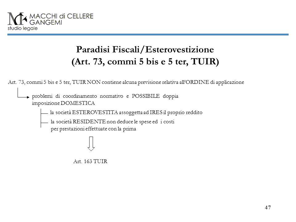 47 Paradisi Fiscali/Esterovestizione (Art.