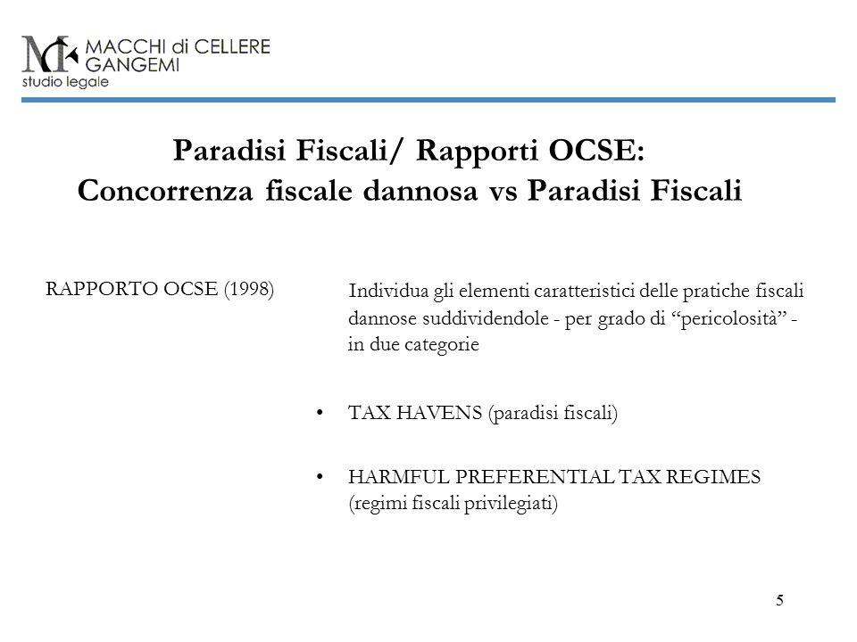 5 Paradisi Fiscali/ Rapporti OCSE: Concorrenza fiscale dannosa vs Paradisi Fiscali RAPPORTO OCSE (1998) Individua gli elementi caratteristici delle pratiche fiscali dannose suddividendole - per grado di pericolosità - in due categorie TAX HAVENS (paradisi fiscali) HARMFUL PREFERENTIAL TAX REGIMES (regimi fiscali privilegiati)