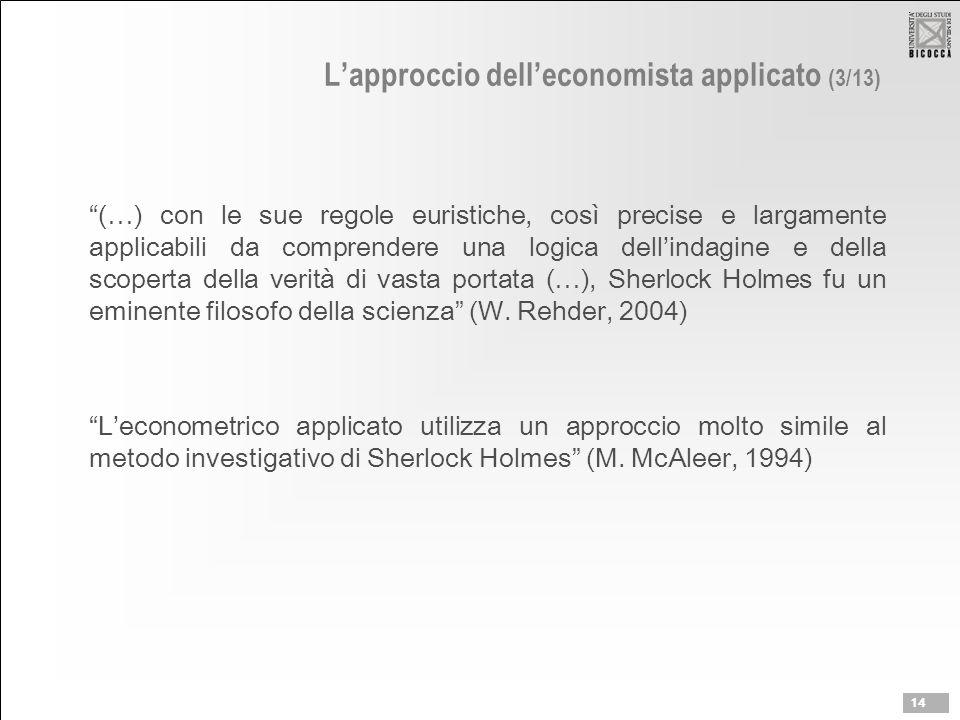 """L'approccio dell'economista applicato (3/13) """"(…) con le sue regole euristiche, così precise e largamente applicabili da comprendere una logica dell'i"""
