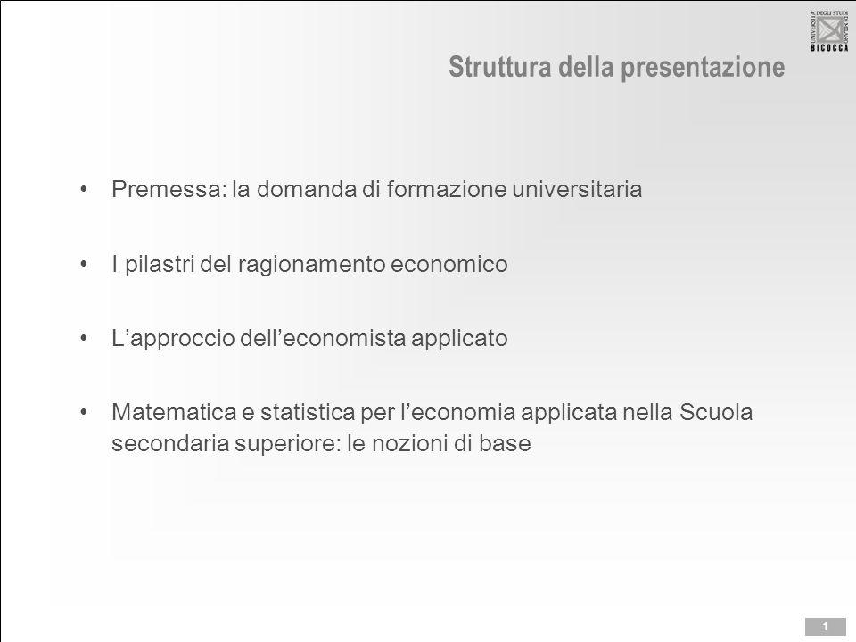 Struttura della presentazione Premessa: la domanda di formazione universitaria I pilastri del ragionamento economico L'approccio dell'economista applicato Matematica e statistica per l'economia applicata nella Scuola secondaria superiore: le nozioni di base 1