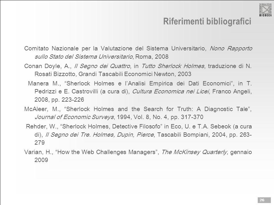 Riferimenti bibliografici Comitato Nazionale per la Valutazione del Sistema Universitario, Nono Rapporto sullo Stato del Sistema Universitario, Roma, 2008 Conan Doyle, A., Il Segno dei Quattro, in Tutto Sherlock Holmes, traduzione di N.