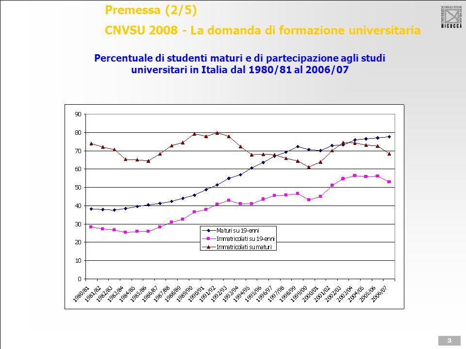 Premessa (3/5) CNVSU 2008 - La domanda di formazione universitaria 1.800mila iscritti nel 2006/07: stabile negli ultimi quattro anni accademici; iscritti al nuovo ordinamento 1.538mila 308mila immatricolati nell'a.a.
