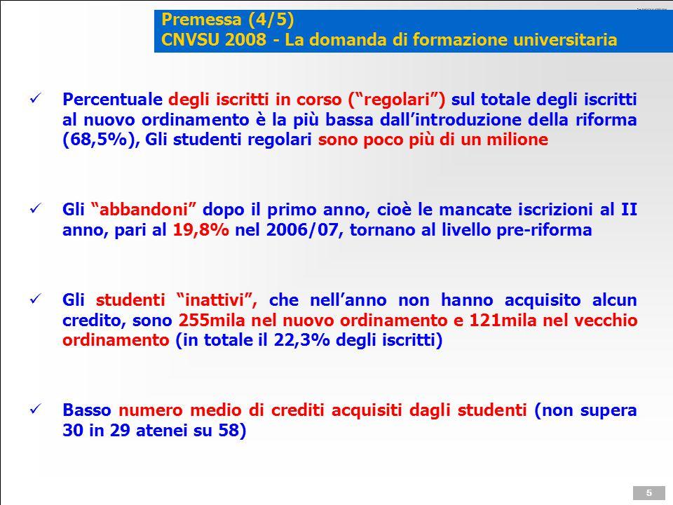 """Premessa (4/5) CNVSU 2008 - La domanda di formazione universitaria Percentuale degli iscritti in corso (""""regolari"""") sul totale degli iscritti al nuovo"""