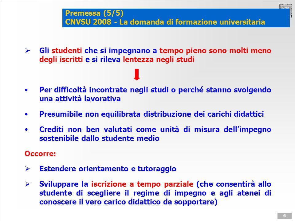 Premessa (5/5) CNVSU 2008 - La domanda di formazione universitaria  Gli studenti che si impegnano a tempo pieno sono molti meno degli iscritti e si r