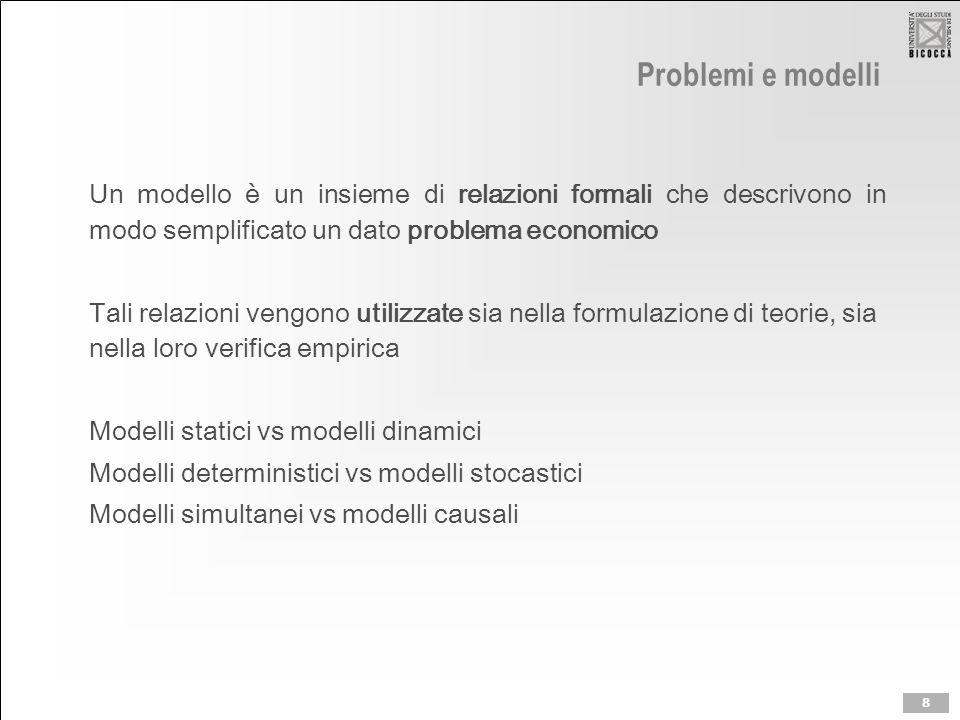 Problemi e modelli Un modello è un insieme di relazioni formali che descrivono in modo semplificato un dato problema economico Tali relazioni vengono utilizzate sia nella formulazione di teorie, sia nella loro verifica empirica Modelli statici vs modelli dinamici Modelli deterministici vs modelli stocastici Modelli simultanei vs modelli causali 8