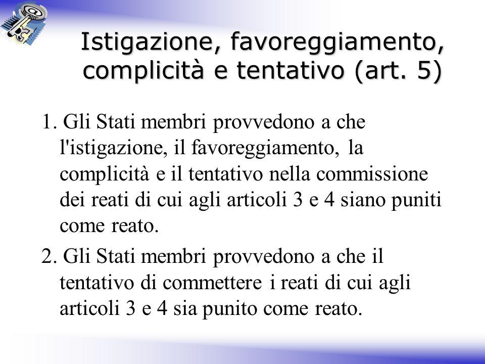 Istigazione, favoreggiamento, complicità e tentativo (art.