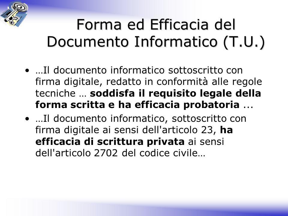 Forma ed Efficacia del Documento Informatico (T.U.) …Il documento informatico sottoscritto con firma digitale, redatto in conformità alle regole tecniche … soddisfa il requisito legale della forma scritta e ha efficacia probatoria...