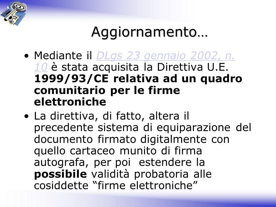 Aggiornamento… Mediante il DLgs 23 gennaio 2002, n.