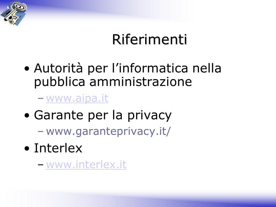 Riferimenti Autorità per l'informatica nella pubblica amministrazione –www.aipa.itwww.aipa.it Garante per la privacy –www.garanteprivacy.it/ Interlex –www.interlex.itwww.interlex.it