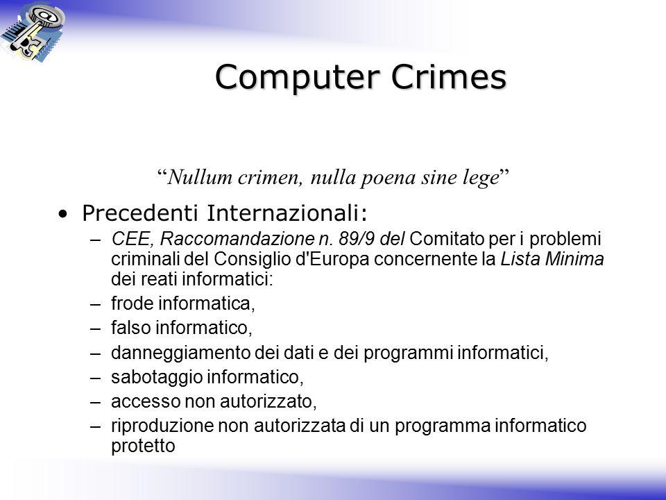 Computer Crimes Nullum crimen, nulla poena sine lege Precedenti Internazionali: –CEE, Raccomandazione n.