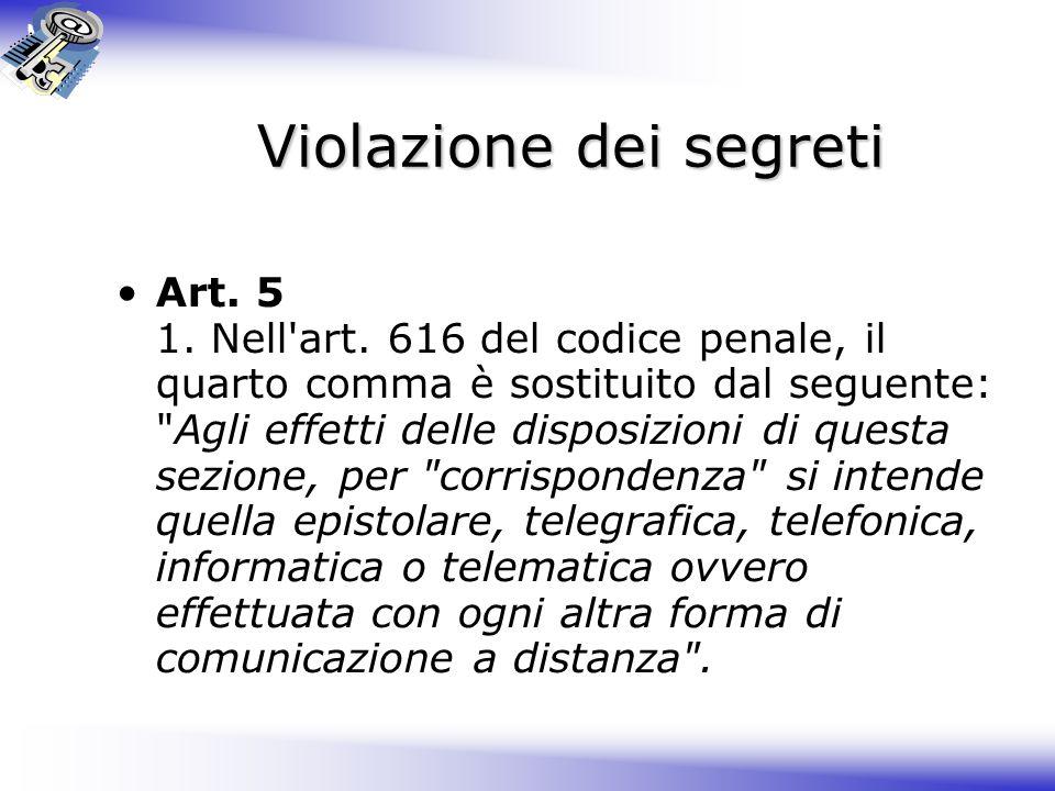 Violazione dei segreti Art.5 1. Nell art.