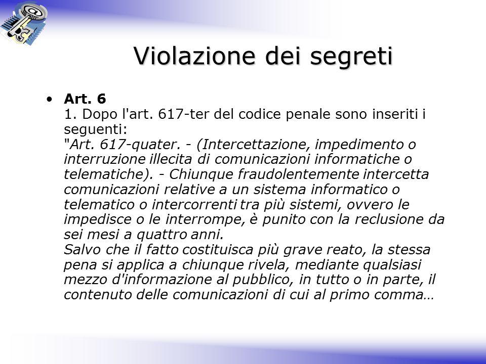 Violazione dei segreti Art.6 1. Dopo l art.