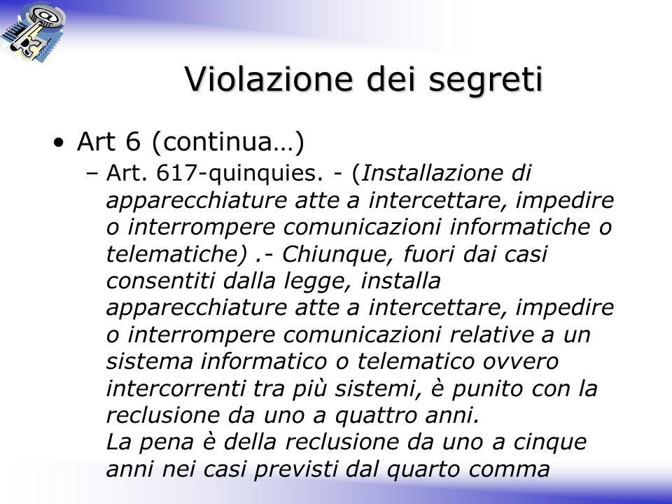 Violazione dei segreti Art 6 (continua…) –Art.617-quinquies.