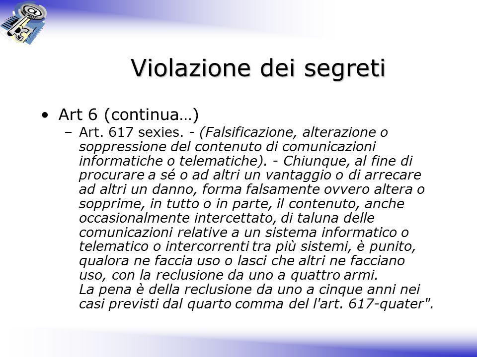 Violazione dei segreti Art 6 (continua…) –Art.617 sexies.