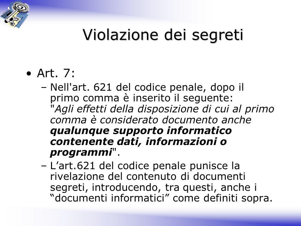 Violazione dei segreti Art.7: –Nell art.