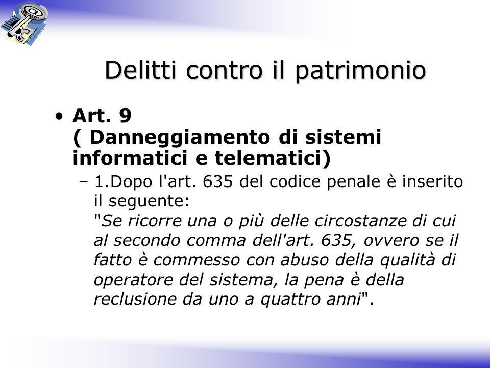 Delitti contro il patrimonio Art.