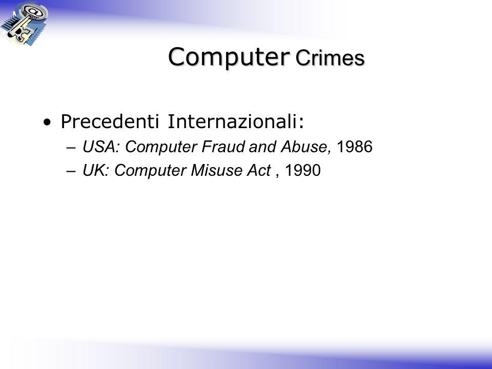 Computer Crimes Precedenti Internazionali: –USA: Computer Fraud and Abuse, 1986 –UK: Computer Misuse Act, 1990