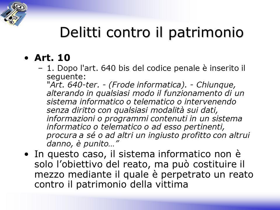 Delitti contro il patrimonio Art.10 –1. Dopo l art.